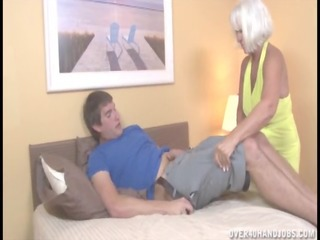 aged golden-haired jerking on bed