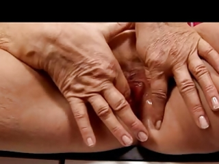 golden-haired granny in nylons fingers