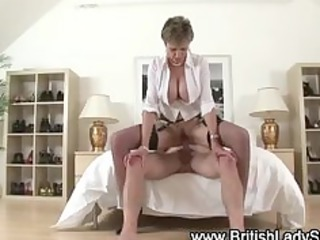 breasty older brit acquires a spunk fountain