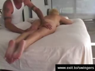 mom tracy receives massage with rug munch end