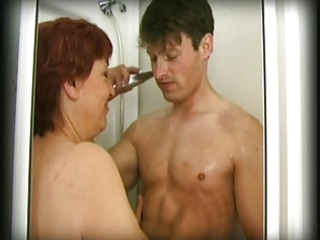 hairy granny finds a stud in her shower