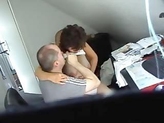 concupiscent brunette hair secretary receives
