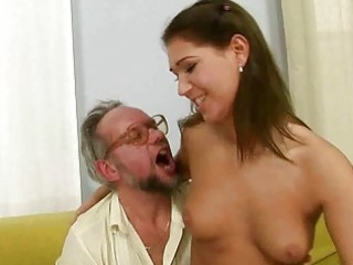 old man enjoying naughty sex with sexy legal age