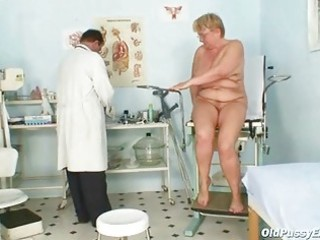 fat mature radka receives real speculum exam by
