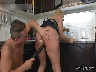 lewd blond cougar receives her asshole part1