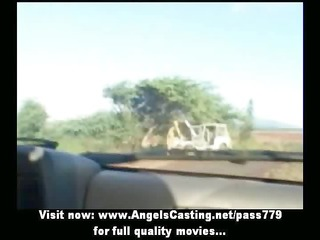 sexy lesbo allies riding car and toying and