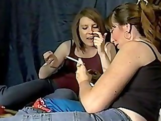 mother and daughter smokin