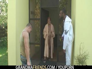 interracial three-some fuckfest with granny