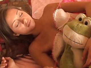 sleeping brunette hair teen in teasing underware