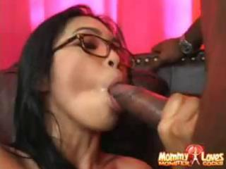 nerdy dilettante oriental mom receives a large