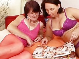 shaggy grandma toyed by breasty aged lesbo