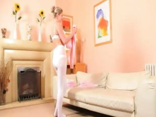 hot mommy in white pantyhose undress