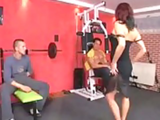 german aged double penetrated at the gym