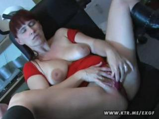 busty non-professional wife plays with herself