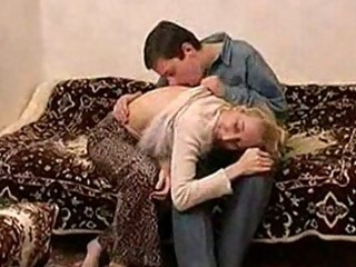 skinny russian mature lady fucking with a chap