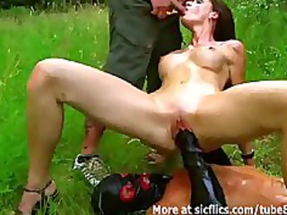 fisting and pissing on the sexy doxy outdoors