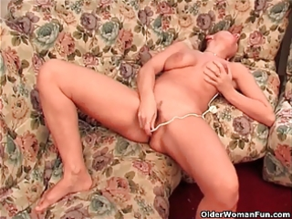 breasty granny finger fucks her old cunt and ass