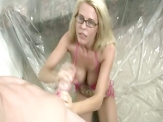 golden-haired whore gives a hand jive