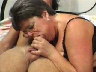 granny in glasses and nylons copulates