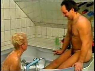 naughty german grandma screwed in bathtub