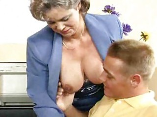 breasty mamma gets drilled in the office