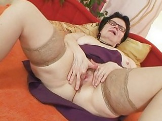 old grandma with glasses fingering shaggy vagina
