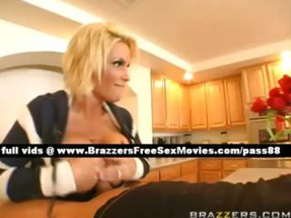 hot blond aged wench in the kitchen