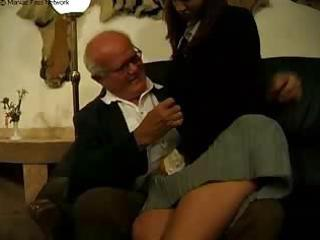 grand dad and father punish their bad schoolgirl