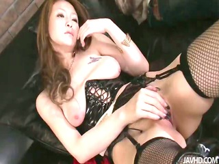yuu grinds her slit and then has her pussy banged