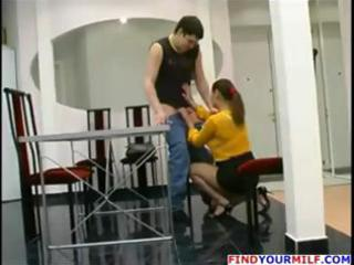 aged russian mama catches boy jerking off and