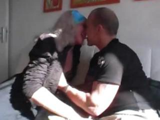 german granny receives trio love from a younger