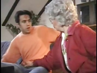 gray haired lady catches chap jerking off and