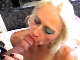 blond old aged tart in fishnets copulates older