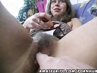 hairy dilettante wife toys and rides a shlong