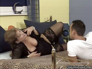 breasty old woman acquires horny getting her