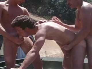 vintage aged lads drilling outdoor