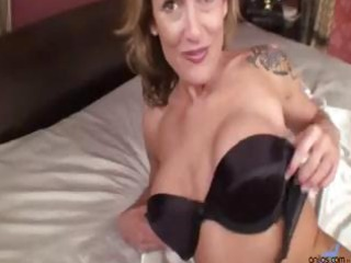slim mother i golden-haired masturbates with her