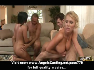 foursome sex fuckfest with two stripped