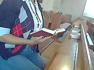 woman masturbates in the church