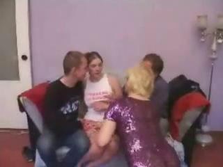 mature broad receives fortunate in group team fuck