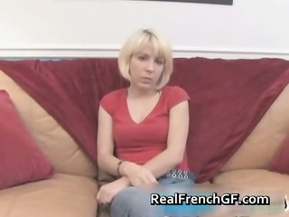 cute golden-haired french honey with a pleasing