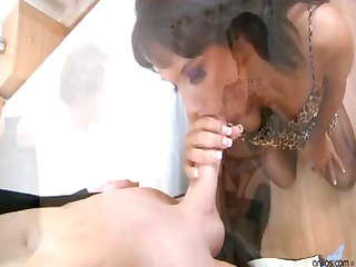 housewife in stockings and garter copulates her