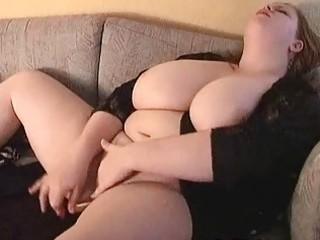 hawt large breasted milf fatty masturbates on the