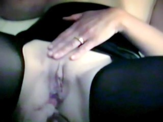 homemade anal beads meet a shaved pussy