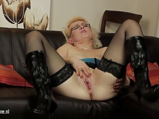 european older mommy playing with her