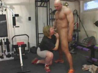 corpulent aged exercises her gazoo
