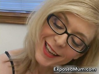 blonde housewife in glasses licking inflexible