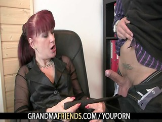 two favourable studs group-sex business woman