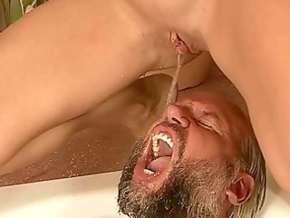 grandad and youthful beauty pissing and fucking