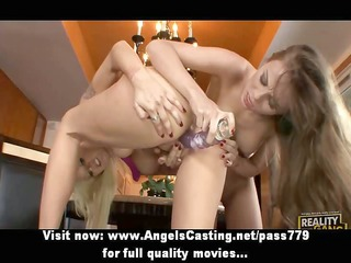sexy blonde lesbians toying pussy with sextoy